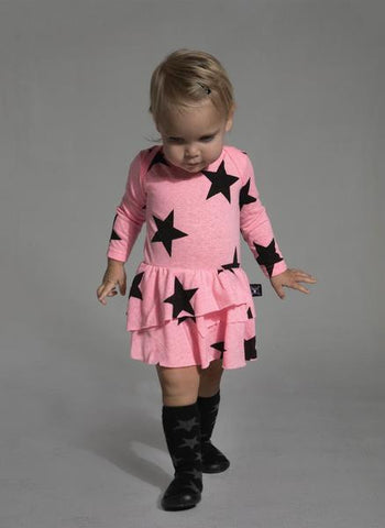 Star Onesie with Skirt in Neon Pink