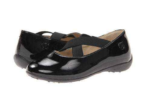 Patent Leather Ballerina Shoe with Crisscross Straps