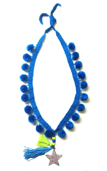 Make a Wish Pom Pom Star Necklace