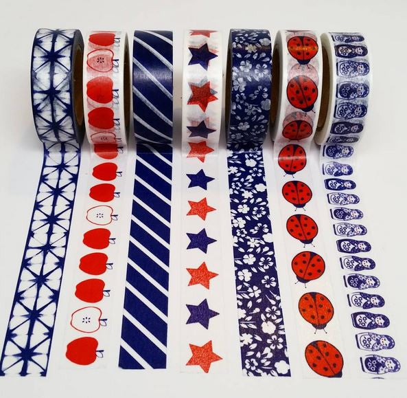Red, White & Blue Themed Washi Tape 4 Pack