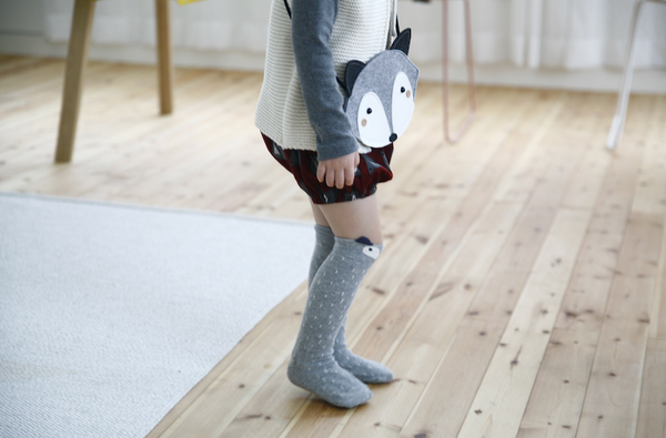 Fox or Raccoon Knee Socks - GREY or BROWN