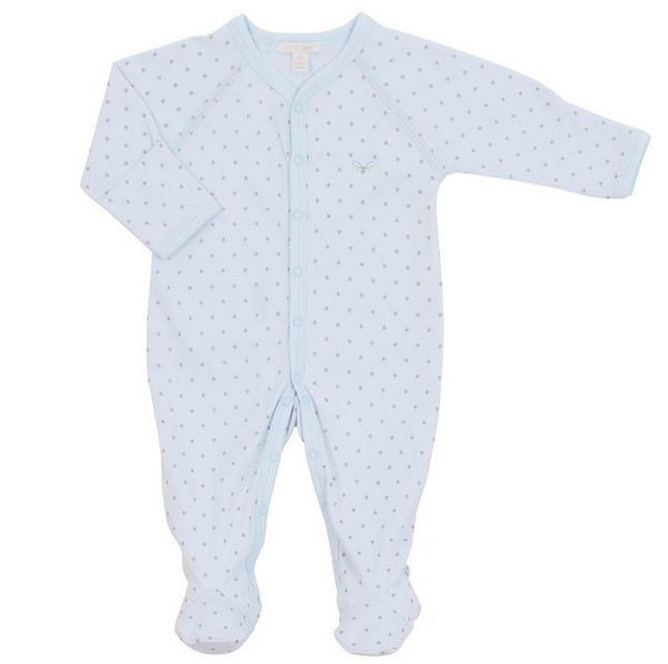 Saturday Simplicity Silver Dot Footie in Blue
