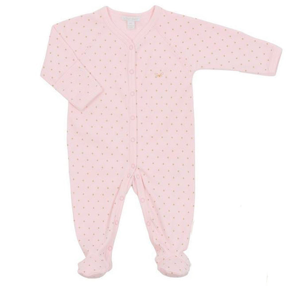 Saturday Simplicity Gold Dot Footie in Pink