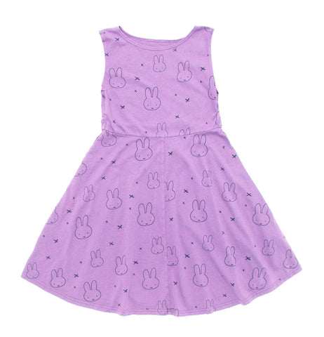 Miffy Print Tank Skater Dress in Purple