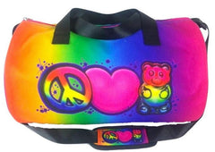 Peace, Love & Gummies Airbrush Rainbow Duffle Bag
