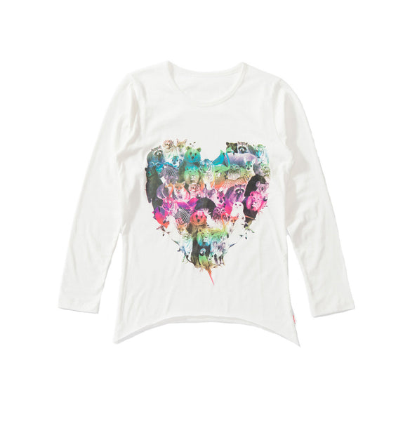 Animal Rainbow Heart Long Sleeve Tee