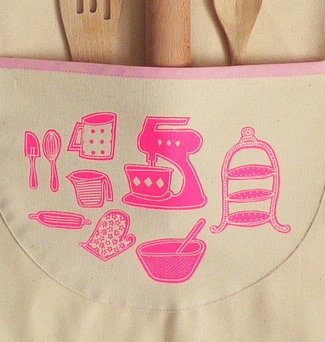 Baking Themed Apron Set in Hot Pink