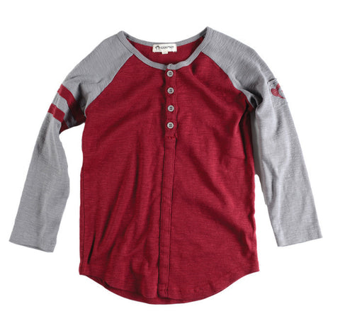 Baseball Henley Shirt in Maroon