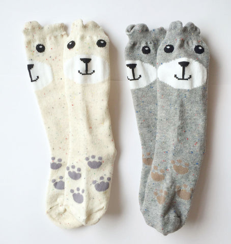 Smiling Bear Knee Socks in Grey or Oatmeal