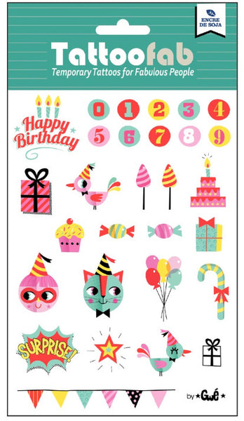 Birthday Temporary Tattoo Set