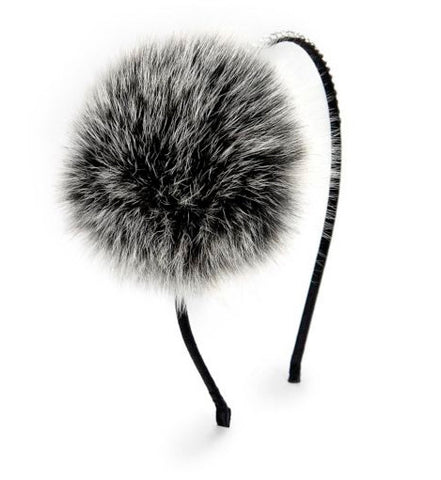 Embellished Pompom Fur Headband in Two Tone Black/White