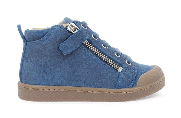 Double Wax Suede Mid Lace Zip in Blue