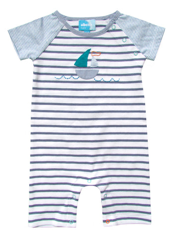 Sailboat Applique Short Sleeve Romper