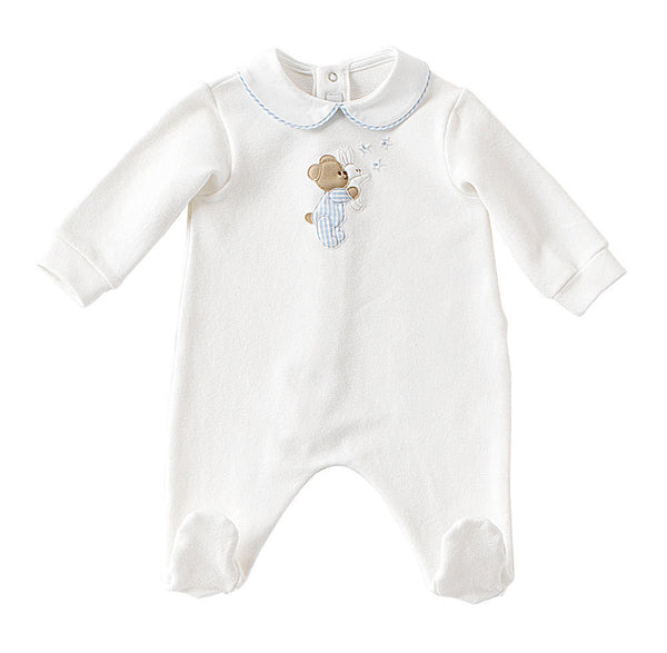 Baby Boys Long Sleeve Romper with Bear