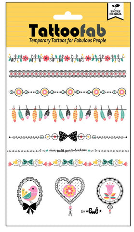 Bracelets & Cameos Temporary Tattoo Set