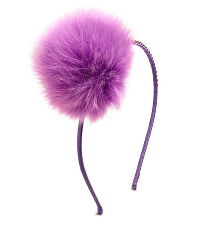 Embellished Pompom Fur Headband in Bright Purple