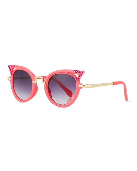 Rhinestone Embellished Cats Eye Sunglasses in PINK OR TURQUOISE