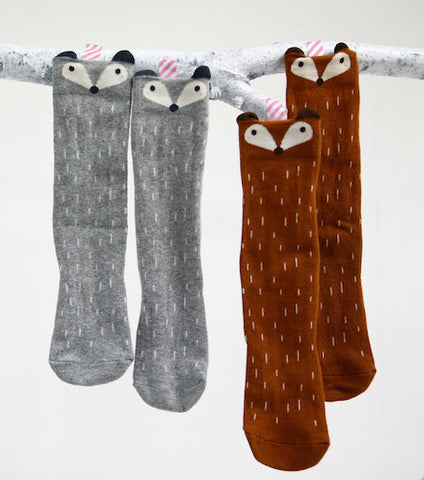 Fox or Raccoon Knee Socks