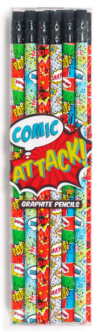 Comic Attack Pencils - Set of 12
