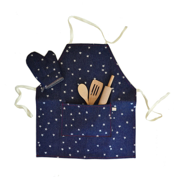 Denim Apron Set with Silver Stars
