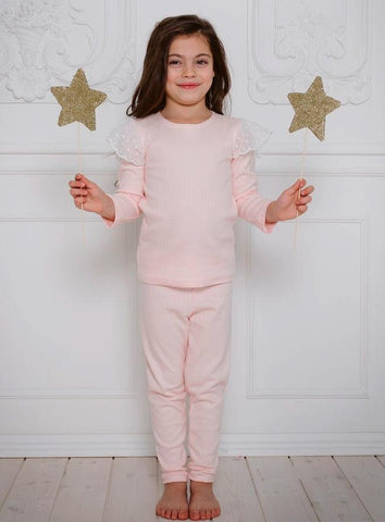Diana Pants & Long Sleeve Pajama Set with Dot Lace Detail in PINK or GREY