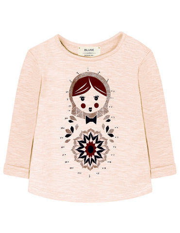 Baby Girls Connect the Dots Matriochka Doll Long Sleeve Tee