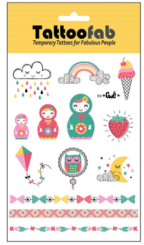 Matryoshka Dolls & More Temporary Tattoo Set