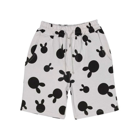 Rabbit Dot Drawstring Shorts in Dove Grey
