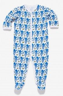 Infant Snapsuit Monkey PJs in Blue