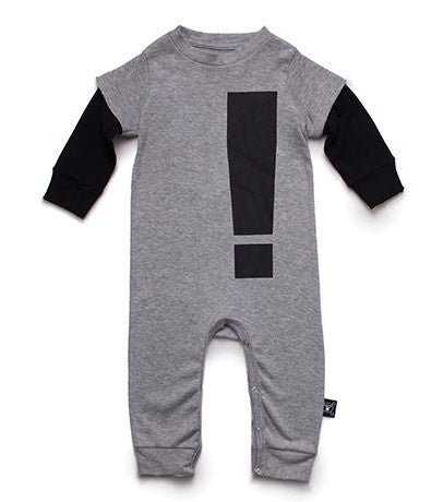 Exclaimation Playsuit in Heather Grey