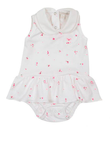 Delicate Floral Frill Dress Onesie