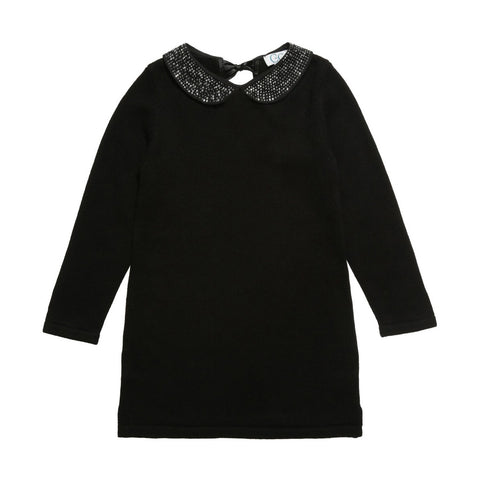 Black Knitted Dress With Jewel Collar