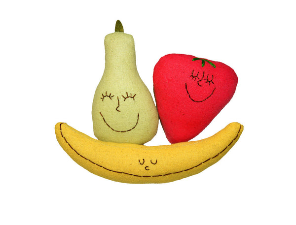 Organic Rattle & Play Food Set -Strawberry, Pear & Banana