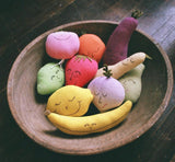 Organic Rattle & Play Food Set -Carrot, Radish, Squash, Beet