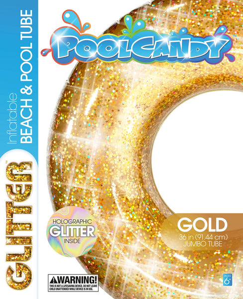 Gold Glitter Pool Tube 36 inch