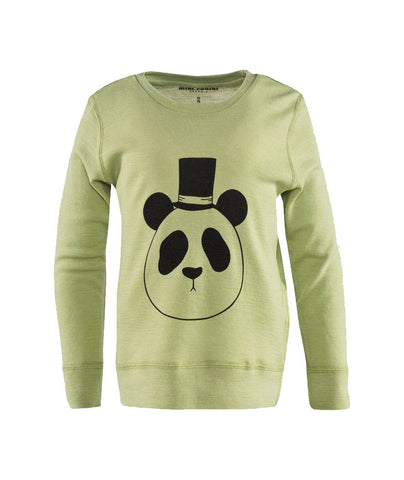 Panda Long Sleeve Wool Tee in Green