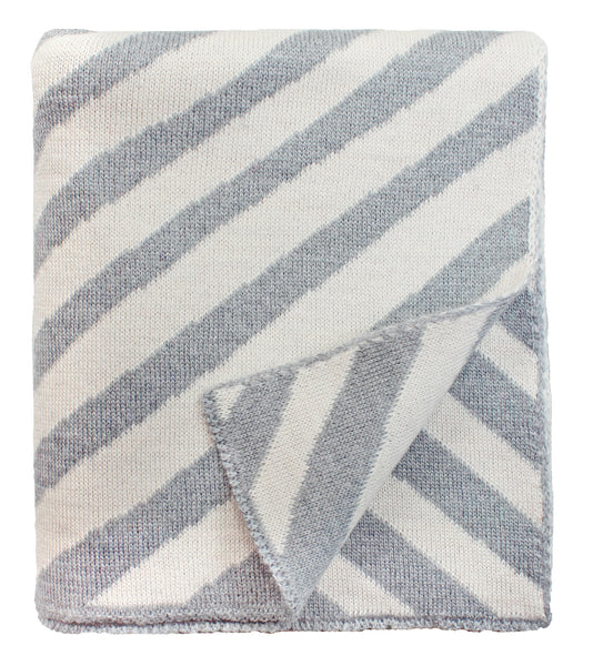 Diagonal Stripe Baby Blanket in Grey Multi