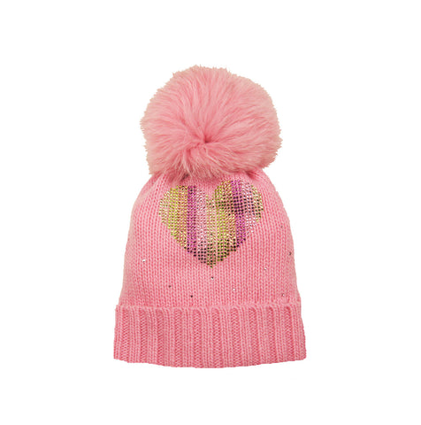 Pink Cashmere Blend Hat with Fox Pompom and Swarovski Heart Detail