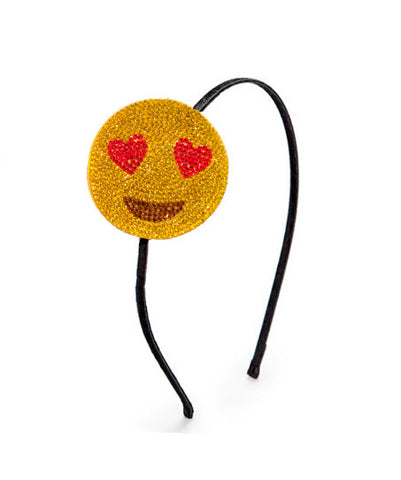 Rhinestone Emoji Headband - Love/Heart Eyes Emoji