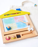 Wooden Magic Slate Multi-Color Drawing House - Yellow