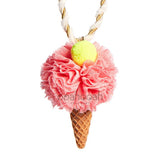 Tulle Ice Cream Cone Necklace in Strawberry
