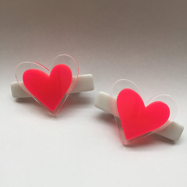 Heart Hair Clips Set - Available in 6 Colorways