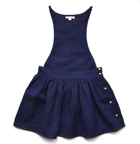 Denise Overall Dress in Navy