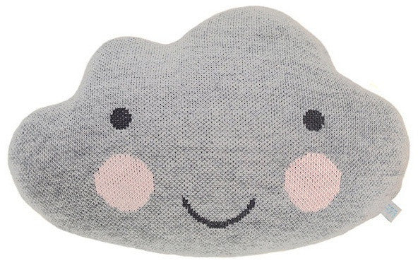 Knit Cloud Pillow in Light Grey