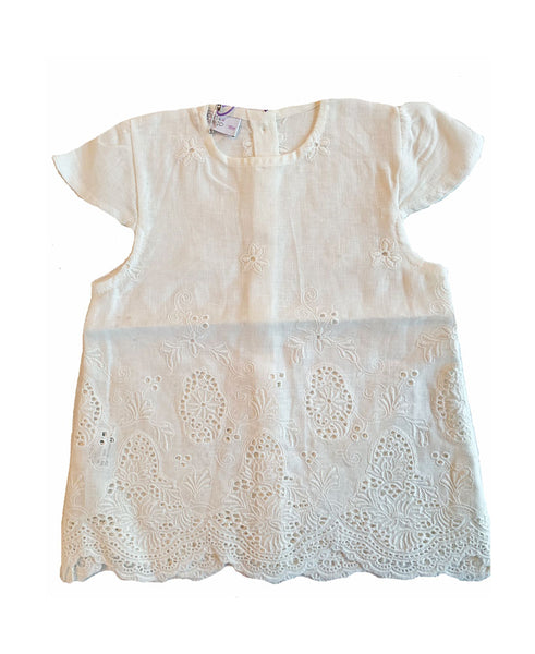 Baby Girls Broderie Anglaise Linen Top