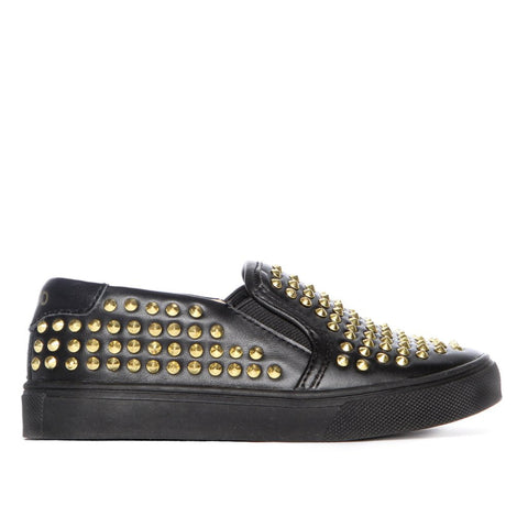 Liv in Black Leather with Gold Studs