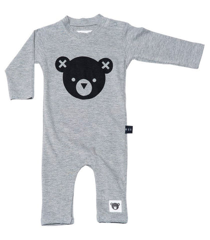Long Sleeve Bear Romper in Grey