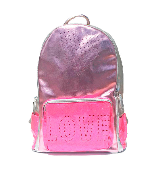 Love Backpack in Metallic Pink Multi