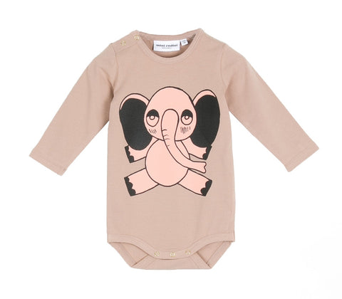 Elephant Long Sleeve Bodysuit Onesie in Beige