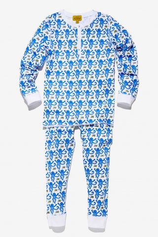 Kids Monkey Pajama Set in Blue